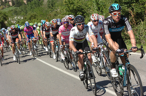 16.05.2012. Assisi, Italy.  Giro d'Italia, stage 11 Assisi to   Montecatini Terme, Team Sky 2012, Eisel Bernhard, Cavendish Mark, Rodriguez Oliver Joaquin