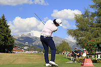 Gavin Green (MAS) tees off the 18th tee during Sunday's Final Round 4 of the 2018 Omega European Masters, held at the Golf Club Crans-Sur-Sierre, Crans Montana, Switzerland. 9th September 2018.<br /> Picture: Eoin Clarke | Golffile<br /> <br /> <br /> All photos usage must carry mandatory copyright credit (© Golffile | Eoin Clarke)