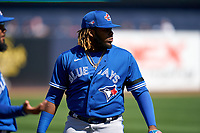 Toronto Blue Jays Vladimir Guerrero Jr. (27) before a Spring Training game against the New York Yankees on February 22, 2020 at the George M. Steinbrenner Field in Tampa, Florida.  (Mike Janes/Four Seam Images)