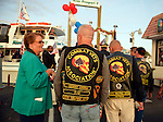 Freeport, New York, USA. 10th Sept. 2014. Members of the Combat Vets Association attend a dockside remembrance ceremony in honor of victims of the terrorist attacks of September 11 2001, at the boat Miss Freeport V, on Freeport's Nautical Mile. Further ceremonies were held on board the vessel, which Capt. Rizzo sailed from the Woodcleft Canal on the South Shore of Long Island, on the eve of the 13th anniversary of the 9/11 attacks.