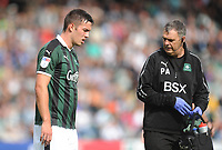Plymouth Argyle's Niall Canavan leaves the pitch due to injury<br /> <br /> Photographer Kevin Barnes/CameraSport<br /> <br /> The EFL Sky Bet League One - Plymouth Argyle v Blackpool - Saturday 15th September 2018 - Home Park - Plymouth<br /> <br /> World Copyright &copy; 2018 CameraSport. All rights reserved. 43 Linden Ave. Countesthorpe. Leicester. England. LE8 5PG - Tel: +44 (0) 116 277 4147 - admin@camerasport.com - www.camerasport.com