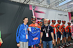 Vincenzo Nibali (ITA) Bahrain-Merida receives the jersey of the Italian National Basketball team from captain Giorgia Sottana and coach Marco Crespi at sign on before Stage 19 of the 2019 Giro d'Italia, running 151km from Treviso to San Martino di Castrozza, Italy. 31st May 2019<br /> Picture: Massimo Paolone/LaPresse | Cyclefile<br /> <br /> All photos usage must carry mandatory copyright credit (© Cyclefile | Massimo Paolone/LaPresse)