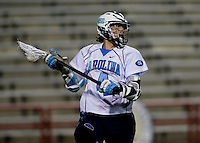 Billy Bitter (4) of North Carolina looks for a teammate during the ACC men's lacrosse tournament semifinals in College Park, MD.  Maryland defeated North Carolina, 13-5.