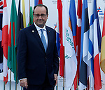 French President Francois Hollande gives a speech at the end of the 10th Asia-Europe Meeting (ASEM) on October 17, 2014 in Milan. The Asia-Europe Meeting (ASEM) was created in 1996 as a forum for dialogue and cooperation between Europe and Asia. It's held every two years alternatively in Asia and Europe.