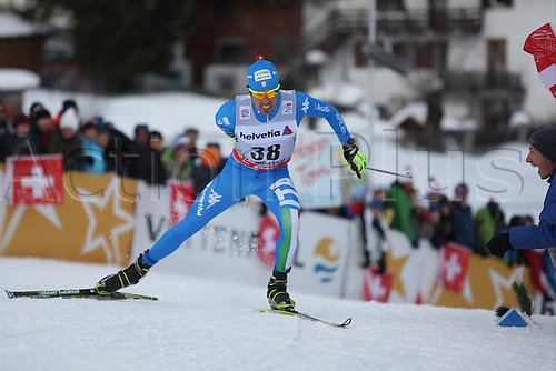 01.01.2013 Val Mustair, Switzerland. Thomas Moriggl (ITA) in action at the sprints finals of the Cross Country Ski World Cup -  Tour de ski - Val Mustair - Switzerland - 1.4 km Free sprint men