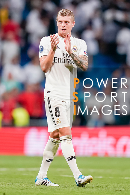 Toni Kroos of Real Madrid celebrates after winning the UEFA Champions League 2018-19 match against Roma at Estadio Santiago Bernabeu on September 19 2018 in Madrid, Spain. Photo by Diego Souto / Power Sport Images
