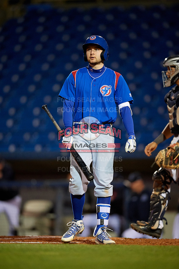 South Bend Cubs designated hitter Austin Filiere (21) at bat during the second game of a doubleheader against the Lake County Captains on May 16, 2018 at Classic Park in Eastlake, Ohio.  Lake County defeated South Bend 5-2.  (Mike Janes/Four Seam Images)
