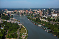 aerial photograph of downtown Knoxville and the Tennessee River, Knox County, Tennessee