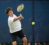 June 11th 2017, Nottingham, England; ATP Aegon Nottingham Open Tennis Tournament day 2;  Powerful forehand from Yuya Kibi of Japan