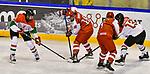 03.01.2020, BLZ Arena, Füssen / Fuessen, GER, IIHF Ice Hockey U18 Women's World Championship DIV I Group A, <br /> Daenemark (DEN) vs Ungarn (HUN), <br /> im Bild Regina Metzler (HUN, #16), Frida Kielstrup (DEN, #13)Sofia Skriver (DEN, #18), Hanna Aldous (DEN, #4), Emma Kreisz (HUN, #13)<br /> <br /> Foto © nordphoto / Hafner