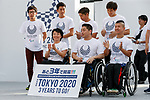 Japan's Paralympic athletes pose for the cameras during the 3 Years to Go! ceremony for the Tokyo 2020 Paralympic games at Urban Dock LaLaport Toyosu on August 25, 2017. The Games are set to start on August 25th 2020. (Photo by Rodrigo Reyes Marin/AFLO)