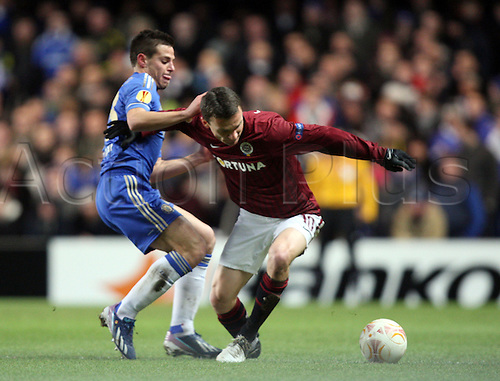 21.02.2013. London, England. Cesar Azpilicueta of Chelsea and David Lafata  during the UEFA Europa League, Round of 32,  2nd Leg game between Chelsea and Sparta Prague from Stamford Bridge Stadium......