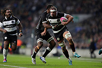 16th November 2019; Twickenham, London, England; International Rugby, Barbarians versus Fiji; Tyler Ardron of Barbarians being challenged by Serupepeli Vularika of Fiji - Editorial Use