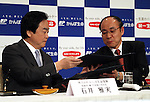 March 29, 2016, Tokyo, Japan - Japan Post Insurance president Masami Ishii (L) and Dai-ichi Life Insurance president Koichiro Watanabe exchange their documents on their agreement in Tokyo on Tuesday, March 29, 2016. Japan Post Insurance and Dai-ichi Life Insurance have reached basic agreement to form a strategic business alliance. (Photo by Yoshio Tsunoda/AFLO) LWX -ytd-