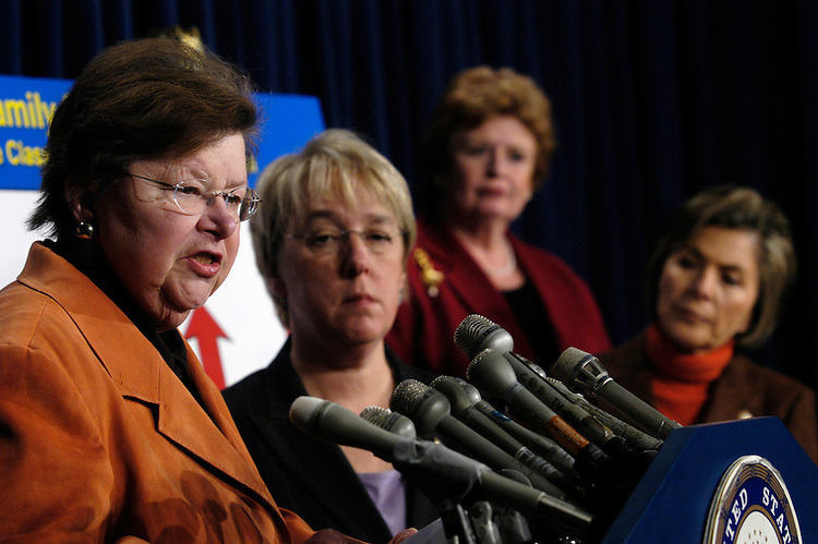 "Sen. Barbara Mikulski, D-Md., Sen. Patty Murrray, D-Wa., Sen. Debbie Stabenow, D-Mi., and Sen. Barbara Boxer, D-Ca., at press conference about the ""negative impact"" of President Bush's FY2007 budget on the middle-class."