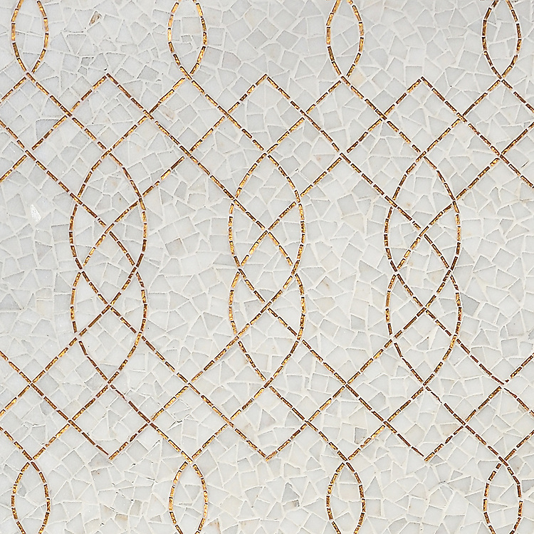 Luc, a hand-cut mosaic shown in Afyon White and 24K Gold Glass, is part of the Aurora™ Collection by New Ravenna.