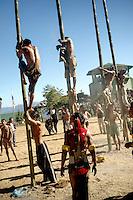 Naga Warrior tribal feat of climbing Bamboo poles, Nagaland, India