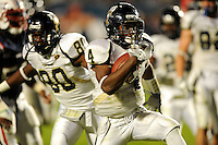 29 November 2008:  FIU wide receiver T.Y. Hilton (4) breaks away for a touchdown early in the fourth quarter of the FAU 57-50 overtime victory over FIU in the annual Shula Bowl at Dolphin Stadium in Miami, Florida.