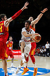 Spain´s Marc Gasol (R) and Pau Gasol (L) and France´s Fournier during FIBA Basketball World Cup Spain 2014 match between Spain and France at `Palacio de los deportes´ stadium in Madrid, Spain. September 10, 2014. (Victor Blanco)