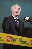 NWA Democrat-Gazette/CHARLIE KAIJO Governor Asa Hutchinson speaks during a ribbon cutting, January 4, 2019 at the Jones Center in Springdale. <br /><br />State highway and local officials held a ribbon cutting to mark the opening of a new section of Arkansas 265 that will carry traffic on the north-south corridor into downtown Rogers.