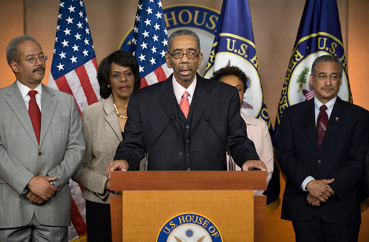 From left, Rep. Chaka Fattah, D-Pa., Rep. Carolyn Cheeks Kilpatrick, D-Mich., Rep. Bobby Rush, D-Ill., Rep. Barbara Lee, D-Calif., and Rep. Bobby Scott, D-Va., participate in a Congressional Black Caucus news conference on summer jobs funding on Thursday, May 6, 2010.