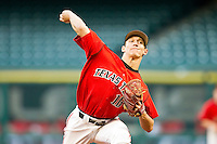 Relief pitcher Trey Masek #16 of the Texas Tech Red Raiders in action against the Houston Cougars at Minute Maid Park on March 4, 2012 in Houston, Texas.  The Red Raiders defeated the Cougars 10-4.  Brian Westerholt / Four Seam Images