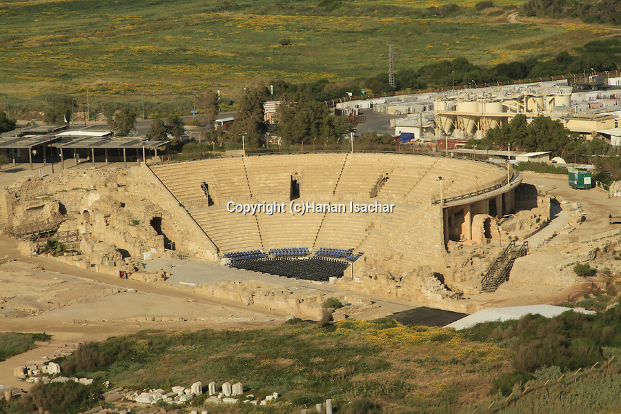 Israel, Sharon region, an aerial view of the Roman theater in Caesarea