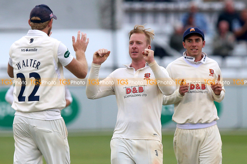 Simon Harmer of Essex celebrates taking the wicket of John Simpson during Essex CCC vs Middlesex CCC, Specsavers County Championship Division 1 Cricket at The Cloudfm County Ground on 29th June 2017