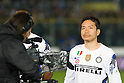 Yuto Nagatomo (Inter), March 11, 2011 - Football : the teams play with a band of mourning on the arm in remembrance of earthquake victims in Japan. Italian Serie A 2010-2011, match between  Brescia 1-1 Internazionale at Mario Rigamonti Stadium, Brescia, Italy, (Photo by Enrico Calderoni/AFLO SPORT) [0391]