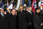 United States President Barack Obama, right, and President Francois Hollande of France listen to the national anthems during an arrival ceremony on the South Lawn of the White House in Washington, D.C., U.S., on Tuesday, Feb. 11, 2014. <br /> Credit: Andrew Harrer / Pool via CNP