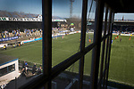 The away team on the attack as seen from the main stand at Palmerston Park, Dumfries as Queen of the South (in blue) hosted Dundee United in a Scottish Championship fixture. The home has played at the same ground since its formation in 1919. Queens won the match 3-0 watched by a crowd of 1,531 spectators.