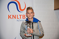 November 30, 2014, Almere, Tennis, Winter Youth Circuit, WJC,  Prizegiving, Mike Diks, boys 14 years, 3th place.Photo: Henk Koster