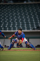 AZL Cubs 2 catcher Henderson Perez (8) covers home plate during an Arizona League game against the AZL Rangers at Sloan Park on July 7, 2018 in Mesa, Arizona. AZL Rangers defeated AZL Cubs 2 11-2. (Zachary Lucy/Four Seam Images)