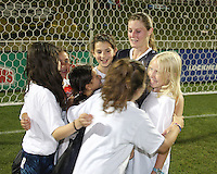 Jill Gilbeau #3 of the Washington Freedom surrounded by fans after a WPS match against the Chicago Red Stars at the Maryland Soccerplex, in Boyds Maryland on June 12 2010. The game ended in a 2-2 tie.