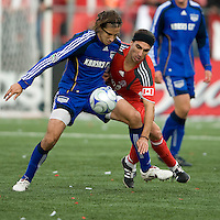 26 April 2009: Kansas City Wizards midfielder Santiago Hirsig #10 and Toronto FC forward Pablo Vitti #8 in action during an MLS game at BMO Field between Kansas City Wizards and Toronto FC.Toronto FC won 1-0. .