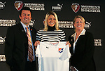 16 January 2009: Christie Shaner, with head coach Ian Sawyers and WPS COO Mary Harvey, was taken by Sky Blue FC with the 25th overall pick (fourth pick of the fourth round). The 2009 inaugural Womens Pro Soccer (WPS) Draft was held at the Convention Center in St. Louis, Missouri in conjuction with the National Soccer Coaches Association of America's annual convention.