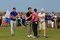 Paul O'Hanlon (Carton House) being congratulated by Gerard Dunne (Co. Louth) on winning the East of Ireland Amateur Open Championship sponsored by City North Hotel at Co. Louth Golf club in Baltray on Monday 6th June 2016.<br /> Photo by: Golffile   Thos Caffrey