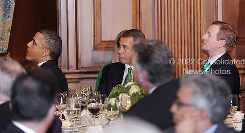 United States President Barack Obama and Speaker of the U.S. House John Boehner (Republican of Ohio) and Prime Minister Enda Kenny of Ireland attend a St. Patrick's Day lunch at the Capitol March 19, 2013 in Washington, DC. <br /> Credit: Olivier Douliery / Pool via CNP