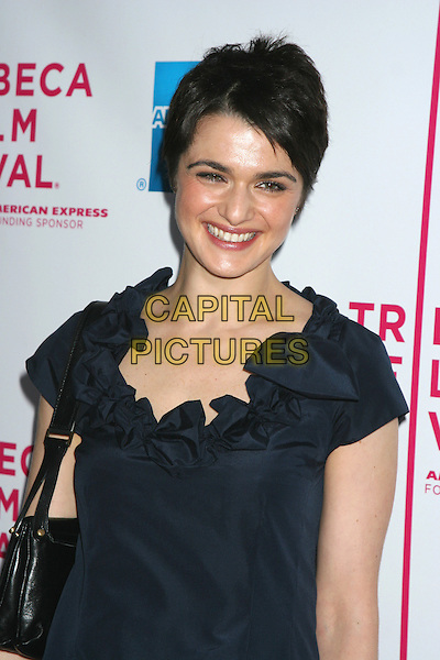 "RACHEL WEISZ.4th Annual Tribeca Film Festival - ""The Interpreter"" Premiere - Inside Arrivals, Ziegfeld Theatre, New York City.April 19th, 2005 .half length blue dress ruffled short hair.www.capitalpictures.com.sales@capitalpictures.com.©Capital Pictures"