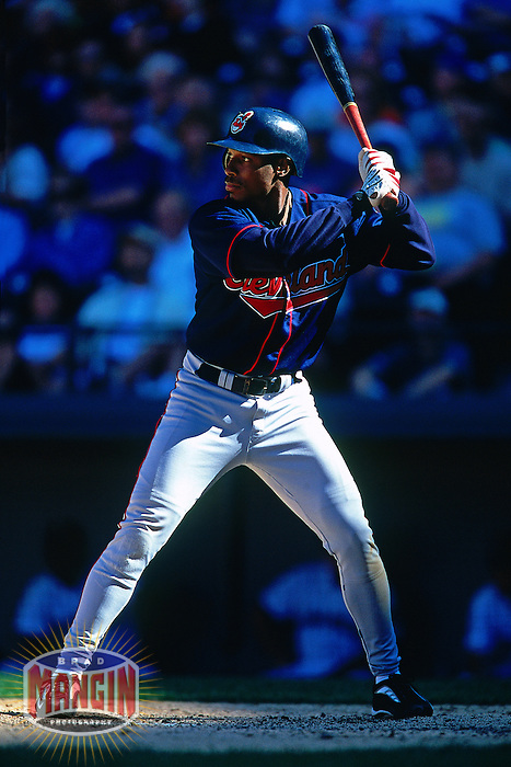 SEATTLE, WA - Kenny Lofton of the Cleveland Indians bats during a game against the Seattle Mariners at Safeco Field in Seattle, Washington in 2000. Photo by Brad Mangin