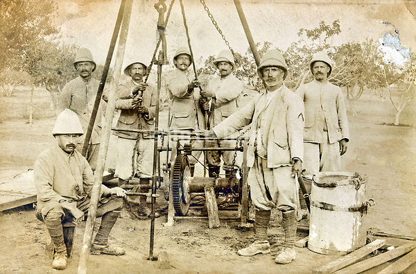 drilling a water hole by an army core Africa early 1900s