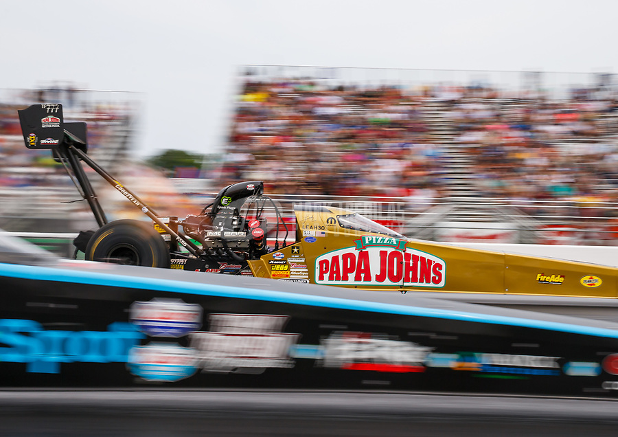 Aug 20, 2017; Brainerd, MN, USA; NHRA top fuel driver Leah Pritchett during the Lucas Oil Nationals at Brainerd International Raceway. Mandatory Credit: Mark J. Rebilas-USA TODAY Sports