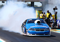 Sept. 22, 2013; Ennis, TX, USA: NHRA pro stock driver Chris McGaha during the Fall Nationals at the Texas Motorplex. Mandatory Credit: Mark J. Rebilas-