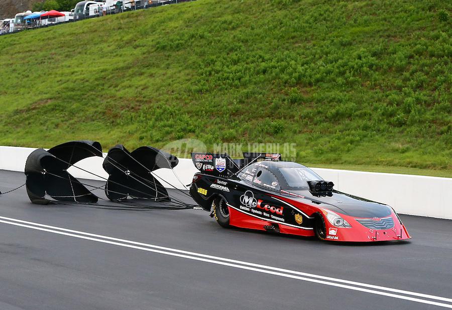 Jun 20, 2015; Bristol, TN, USA; NHRA funny car driver Paul Lee during qualifying for the Thunder Valley Nationals at Bristol Dragway. Mandatory Credit: Mark J. Rebilas-