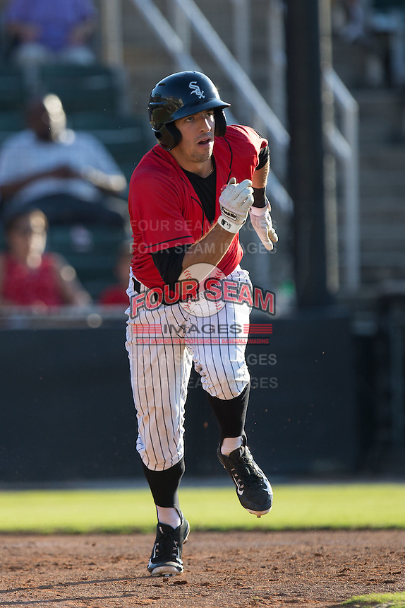 John Ziznewski (5) of the Kannapolis Intimidators hustles down the first base line against the Asheville Tourists at Intimidators Stadium on June 28, 2015 in Kannapolis, North Carolina.  The Tourists defeated the Intimidators 6-4.  (Brian Westerholt/Four Seam Images)