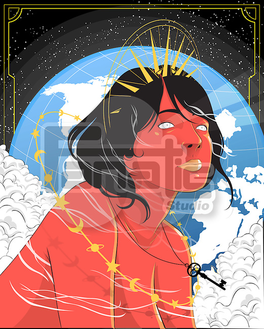 Illustrative image of thoughtful young woman with planet earth in background representing desire for travel