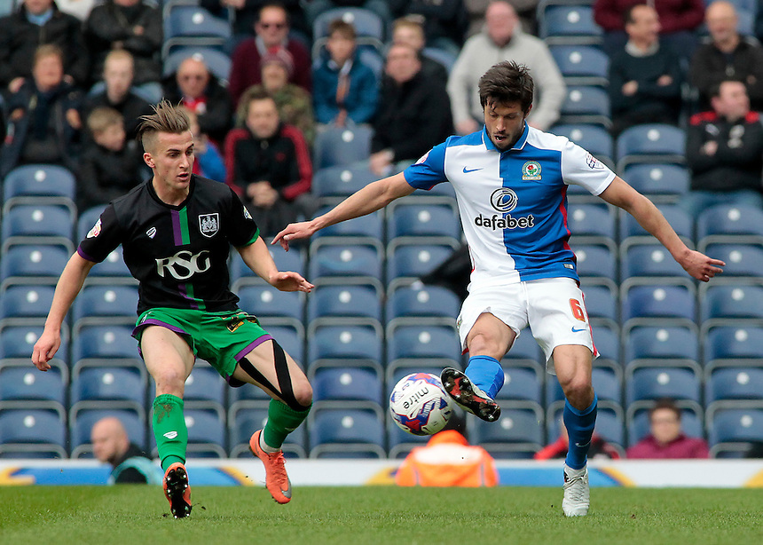 Blackburn Rovers' Jason Lowe controls under pressure from Bristol City's Joe Bryan<br /> <br /> Photographer David Shipman/CameraSport<br /> <br /> Football - The Football League Sky Bet Championship - Blackburn Rovers v Bristol City - Saturday 23rd April 2016 - Ewood Park - Blackburn <br /> <br /> &copy; CameraSport - 43 Linden Ave. Countesthorpe. Leicester. England. LE8 5PG - Tel: +44 (0) 116 277 4147 - admin@camerasport.com - www.camerasport.com