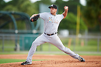 GCL Marlins relief pitcher Chris Sadberry (37) during the first game of a doubleheader against the GCL Cardinals on August 13, 2016 at Roger Dean Complex in Jupiter, Florida.  GCL Cardinals defeated GCL Marlins 4-2 in a continuation of a game originally started on August 8th.  (Mike Janes/Four Seam Images)
