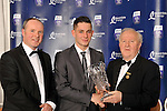 At the Bord G&aacute;is Energy Munster GAA Sports Star of the Year Awards in The Malton Hotel, Killarney on Saturday night were front from left, Dave Kirwan, Managing Director, Bord Gais Energy, Richie McCarthy , Limerick winner of the Hurler of the Year award  and Robert Frost, Chairman, Munster GAA.<br /> Picture by Don MacMonagle<br /> <br /> PR photo from Munster Council