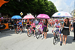 The jersey leaders lined up for the start of Stage 13 of the 2019 Giro d'Italia, running 196km from Pinerolo to Ceresole Reale (Lago Serrù), Italy. 24th May 2019<br /> Picture: Massimo Paolone/LaPresse | Cyclefile<br /> <br /> All photos usage must carry mandatory copyright credit (© Cyclefile | Massimo Paolone/LaPresse)